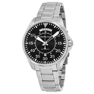 Hamilton Men's 'Khaki Aviation' Black Dial Stainless Steel Pilot Day Date Swiss Automatic Watch