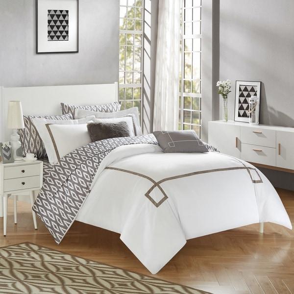 Chic Home 9-Piece Edrea Grey BIB Comforter Set