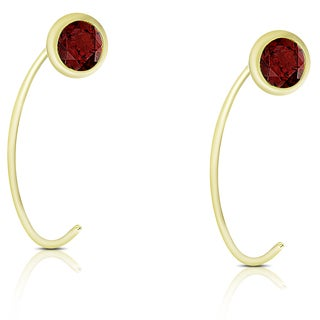 Dolce Giavonna Gold Over Sterling Silver Garnet Circle Earrings