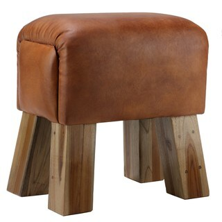 Bare Decor Gorgie Brown Leather Wood Accent Stool