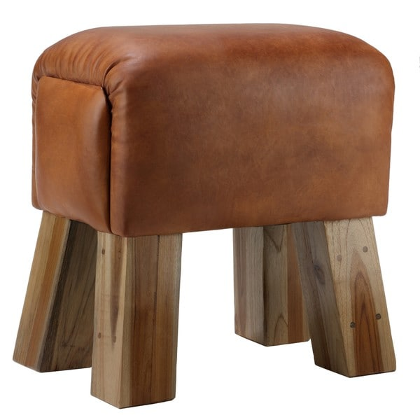 Bare Decor Gorgie Brown Leather Wood Accent Stool. Opens flyout.