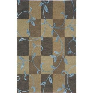 Hand-tufted Lotus Mocha Wool Rug (5' x 8')