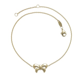 14k Yellow Gold 10-inch High-polish Bow-tie Ribbon Cable Anklet