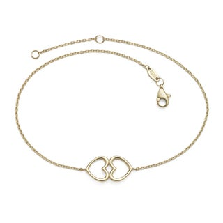 14k 10-Inch Polish Kissing Hearts Cable Anklet