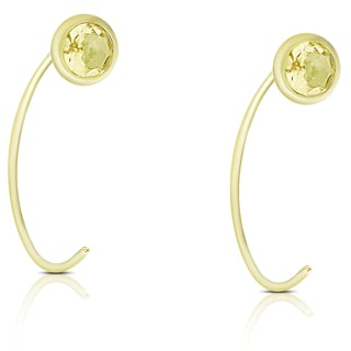 Dolce Giavonna Gold Over Sterling Silver Citrine Circle Earrings