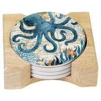 Counterart Absorbent Stone Coasters in Wooden Holder, Monterey Bay Octopus, Set of 4