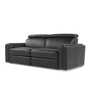 Ellie Black Full Top Grain Leather Motion Recline Sofa