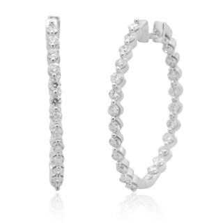 10k White Gold 1 1/2ct TDW Diamond Prong Set Hoop Earring (H-I, I2-I3)