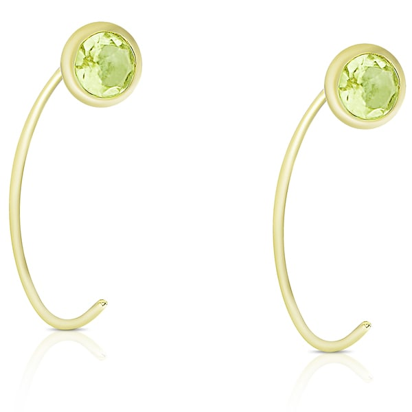 Dolce Giavonna Gold Over Sterling Silver Peridot Circle Earrings