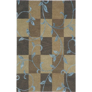 Hand-tufted Lotus Mocha Wool Rug (9'6 x 13')