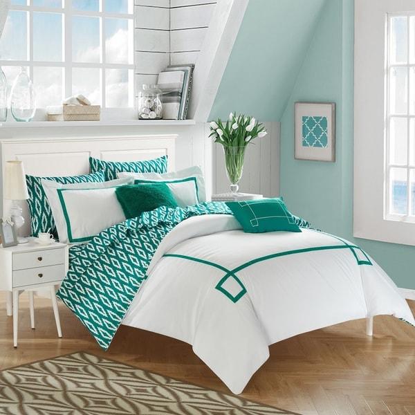 Chic Home 9-Piece Edrea Aqua BIB Comforter Set