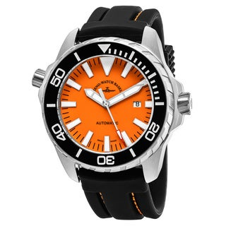 Zeno Men's 6603-2824-A5 'Divers' Orange Dial Black Rubber Strap Swiss Automatic Watch