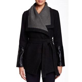BCBGeneration Black Gray Wool Wrap Coat