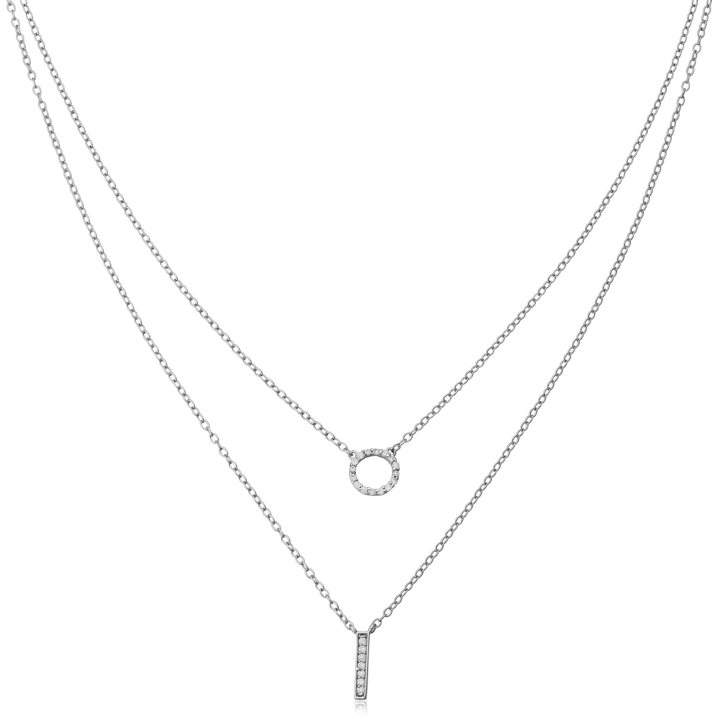 AMDXD Jewelry Silver Plated Women Necklace White Gold Wheat Cubic Ziconia,as Best Gift for Girl