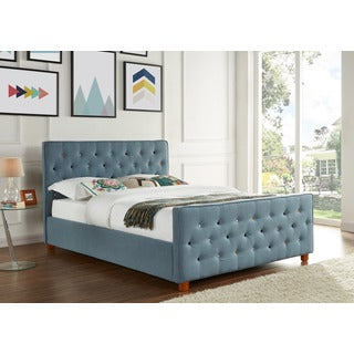 Juliette Chambray Upholstered Button Tufted Queen Bed