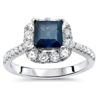 Noori 18k White Gold 1/2ct TDW Diamond and Blue Sapphire Engagement Ring (F-G, SI1-SI2)