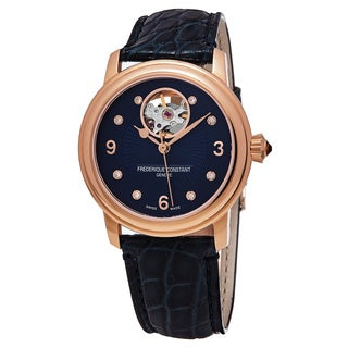 Frederique Constant Women's FC-310HBAND2P4 'Heart Beat' Blue Diamond Dial Blue Leather Strap Swiss Automatic Watch