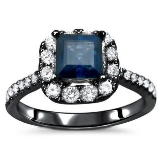 Noori 18k Black Gold Blue Sapphire and 1/2ct TDW Diamond Engagement Ring (F-G, SI1-SI2)