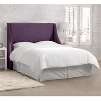 Skyline Furniture Velvet Aubergine Swoop Arm Wingback Headboard