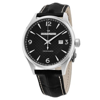 Hamilton Men's H32755731 'Jazzmaster Viewmatic' Black Dial Black Leather Strap Swiss Automatic Watch