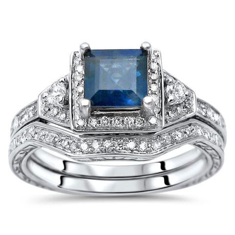 14k White Gold Princess-cut Blue Sapphire and 1/3ct TDW Diamond Engagement Ring Set (H-I, SI1-SI2)