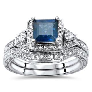 Noori 14k White Gold Princess-cut Blue Sapphire and 1/3ct TDW Diamond Engagement Ring Set (H-I, SI1-SI2)