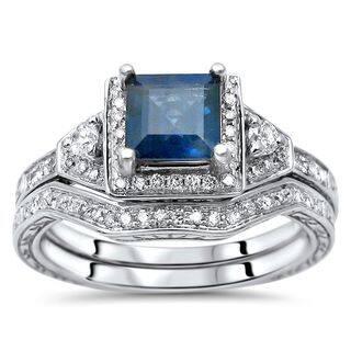 Noori 14k White Gold Princess-cut Blue Sapphire and 1/3ct TDW Diamond Engagement Ring Set (H-I, SI1-SI2)|https://ak1.ostkcdn.com/images/products/12751694/P19528243.jpg?impolicy=medium