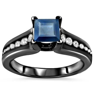 Noori 18k Black Gold Princess-cut Blue Sapphire and 1/2ct TDW Diamond Engagement Ring (G-H, SI1-SI2)