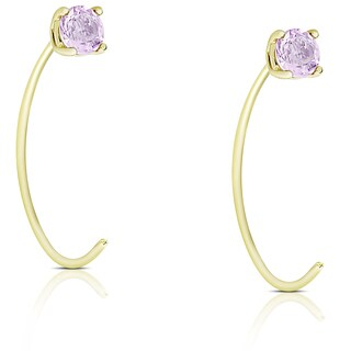 Dolce Giavonna Gold Over Sterling Silver Amethyst Circle Earrings