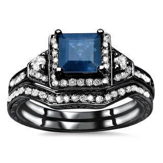 Noori 14k Black Gold 1 1/10 TGW Princess-cut Blue Sapphire Diamond Engagement Ring Set (H-I, I1-I2) - White