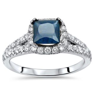Noori 18k White Gold Princess-cut Blue Sapphire and 5/8ct TDW Diamond Engagement Ring (F-G, SI1-SI2)