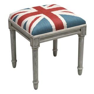 Britannia Grey Wood/Linen Rustic Vanity Stool