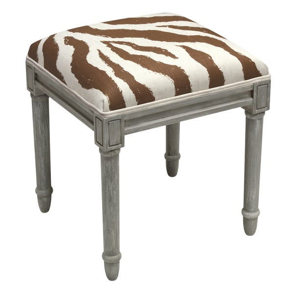 Shop Grey Wood And Linen Zebra Stripes Vanity Stool Free