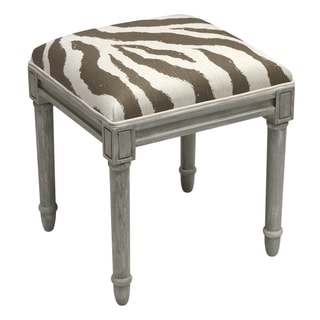 123 Creations Grey Wood and Linen Zebra Stripes Vanity Stool (Grey)