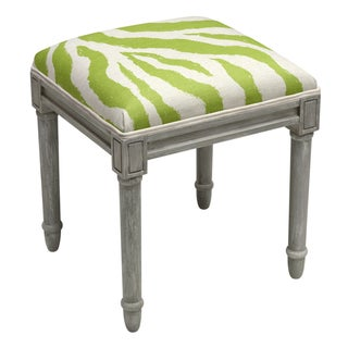 123 Creations Grey Wood and Linen Zebra Stripes Vanity Stool (Green)