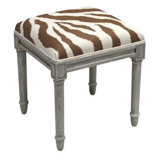 Grey Wood and Linen Zebra Stripes Vanity Stool