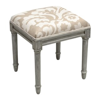 Jacobean Floral-Taupe Grey Wooden Vanity Stool