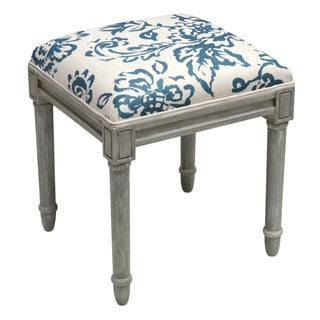 123 Creations Toile Rustic-grey Vanity Stool (Blue)