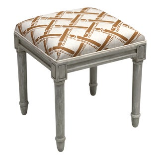 Foam/Linen/Wood Bamboo Trellis Pattern Rustic Grey Finish Vanity Stool