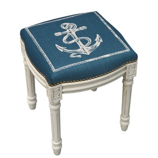 Anchor Antique White Finish Vanity Stool With Nail Heads