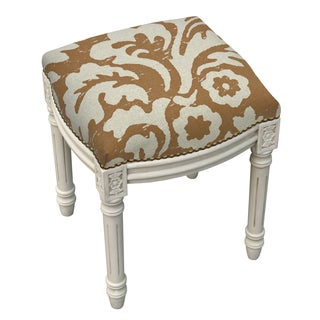 Jacobean Foam/Linen/Wood Floral Antique White Finish Nail Head-accented Vanity Stool