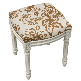 Toile White Wood/Linen Vanity Stool