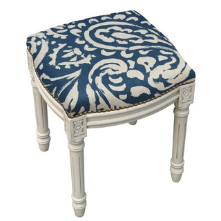 Paisley Antique White Finish Nailheads Vanity Stool
