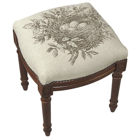 Bird's Nest Vanity Stool with Wood Stain Finish and Nail Heads