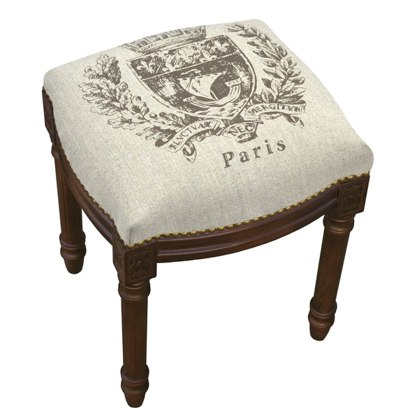 Paris Crest Chestnut Brown Wood/Linen Vanity Stool