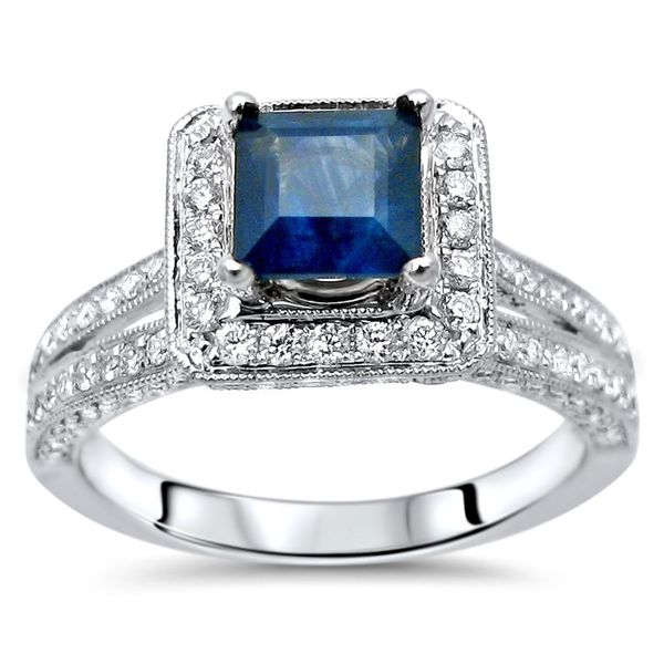 Noori 14k White Gold Blue Sapphire and 3/4ct TDW Diamond Engagement Ring (F-G, SI1-SI2) -  Noori Collection, 11234