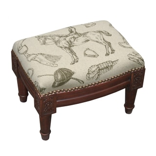 Linen/Wood/Foam Equestrian Footstool with Wood Stain Finish and Nail Heads