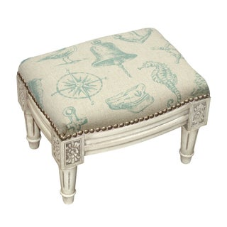 Blue/White Linen Nautical Footstool with Antique White Finish and Nail Heads