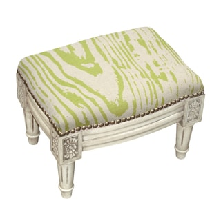 Faux Bois Tan/Green Wooden/Fabric Footstool with Nail Heads
