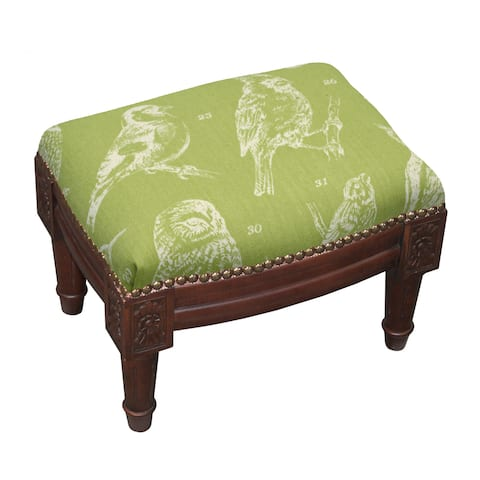 Bird Watch Wood Upholstered Footstool with Nail Heads